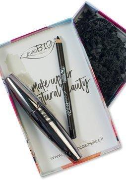 PUROBIO - Coffret-Cadeau pour les Yeux avec Eyeliner et Mascara - Noir - Vegan, Certifié Bio, Nickel Tested, Fabrique in Italie