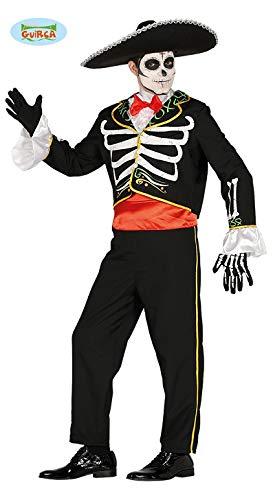 Mexikanischer Skelett Tänzer Kostüm für Herren Mariachi Halloween Mexikaner Gr. M-L, Größe:M