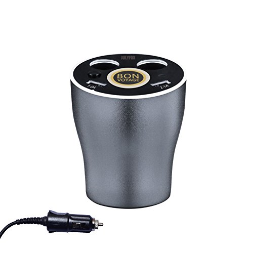 Julyfox 12V/24V Car Power Outlet Extension Adapter with Switch 2 USB Ports 3.1A 2-Socket Cigarette Lighter Splitter for iPhone iPad, Android Samsung,GPS,Dashcam - Power Inverter-cup