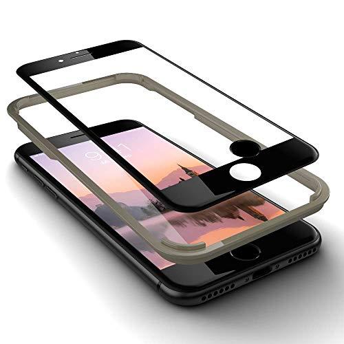 GLAZ geeignet für iPhone 7 Panzerglas in schwarz, Schutzfolie, 9H Härte, Mit Applikator, Blasenfrei, Unsichtbar, Premium Panzerfolie, Displayschutz, Full Coverage, inkl 1 Touch ID Home Button, 4D Rand