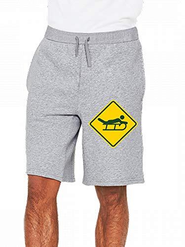 JiJingHeWang Schlitten Schild Mens Casual Short Trouser -