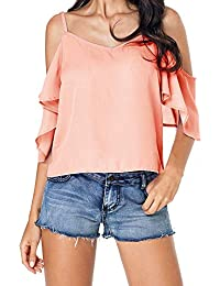 138c5b706 Blusa Mujer Elegantes V Colores Sólidos Cuello Chic Camisas Mode De Marca  Verano Chiffon Shirts Fashion