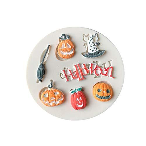 (LGJJJ Halloween Mold Flüssige Silikonform Kreative Und Interessante Kürbisse Hut Besen Eule Form DIY Form Für Halloween Party, 3#)