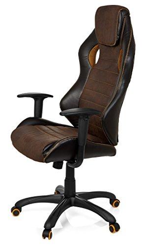 41vqhOtP0qL - hjh OFFICE 621880 RACER VINTAGE IV - Silla Gaming y oficina,  piel sintética marrón