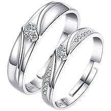 Emorias 1 Pair Anillo de Plata Pareja Amor Mujer Eterno Diamante Boda Compromiso Aleación Ajustable Joyería
