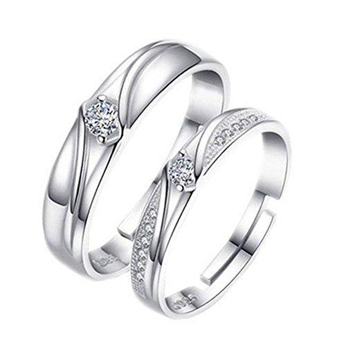 Emorias 1 Pair Ring Silber Paar Liebe Frau Eterno Diamanten Hochzeit Verlobung Legierung verstellbar Schmuck Geschenke Accessoires