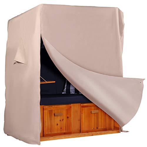 Strandkorb Hanse Schutzhülle aus 600 D Oxford Gewebe mit einzigartigem Velcro-Klettverschluss, Premium Strandkorbhülle in beige, Winterfest