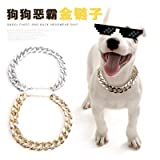 kakakooo Bully Goldkette Hundehalsband Blei Durable Outdoor-Hundehalsband für Teddy Law Hund Für Small Medium Hund (Gold)