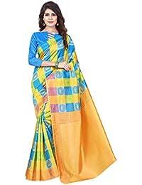 Dream Tree Poly Silk Designer Printed Saree With Blouse Piece
