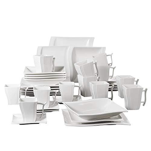 MALACASA, Serie Flora, 36 Piezas vajilla de Porcelana Juegos de vajilla Servicio de Cena con 6 mug,6 Taza de café, 6 platillos, 6 Platos de Postre, 6 Plato de Sopa y 6 Plato Plano para 6 Persona