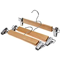 Xyijia Natural Wood Skirt Hangers, Wooden Pants Hangers With Chrome Hardware, Natural Hardwood Hanger (12 Pieces/Lot)