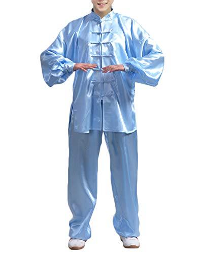 Chinesische Sportarten Nachahmung Seide Kinder Tai Chi Kleidung Anzüge Performance Kampfkunst Show Kostüme Für Jungen Mädchen Blau XS