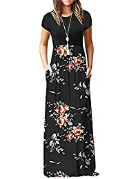 785964a3a7 Kidsform Women's Casual Short Sleeve Maxi Dress Loose Long Dresses with  Pockets