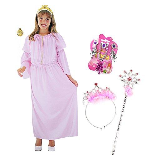 n in Rosa Kinder-Kostüm Set für Fasching, Karneval, Halloween (Gr. S (6-8 J.) + Diadem.Stab.Kette.Ring.Ohrringe) (Rosa Minnie Mouse-halloween-kostüm)