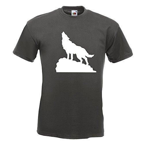 KIWISTAR - heulender Wolf auf Fels T-Shirt in 15 verschiedenen Farben - Herren Funshirt bedruckt Design Sprüche Spruch Motive Oberteil Baumwolle Print Größe S M L XL XXL Graphit