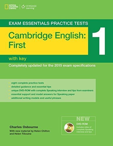 Exam Essentials: Cambridge First Practice Tests 1 w/key + DVD-ROM 3rd edition by Osbourne, Charles, Chilton, Helen, Tiliouine, Helen (2014) Paperback