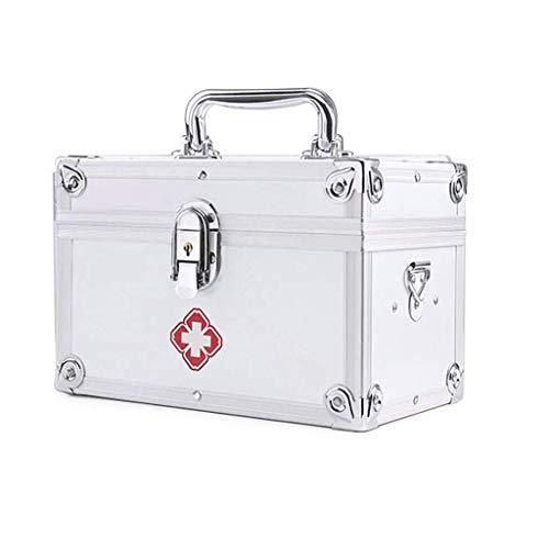 Metall Medizin Safe Lock Boxen Container Gesundheitswesen Medizin Schmuck Verschreibungspflichtige Kabinett Organizer Home Emergency Kit 160x150x230mm (Color : Silver) -