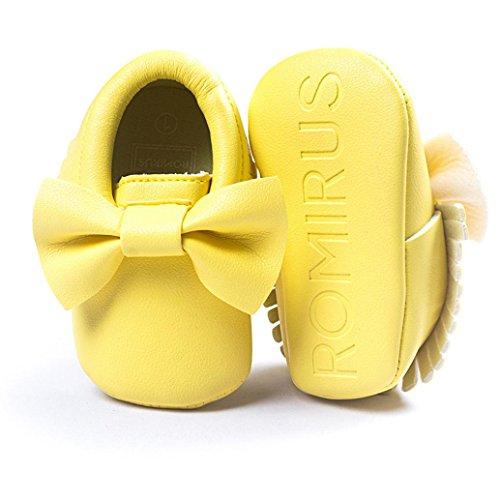 Babyschuhe Longra Baby-Krippe Mädchen Quasten Bowknot Schuhe Sneakers Casual rutschfeste Schuhe Lauflernschuhe(0 ~ 18 Monate) Yellow