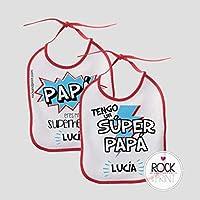 2 Baberos Papá superhéroe personalizado con nombre. Tamaño 20x25cm. Original Regalo Día del Padre super papá cumpleaños
