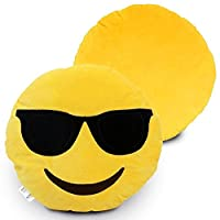 Desire Deluxe Smile Styles Emoti Yellow Round Cushion Pillow Emoticon Stuffed Plush Soft Face Doll Toy Decor Cute Emoticon Smiley Stuffed Emojis Cushions