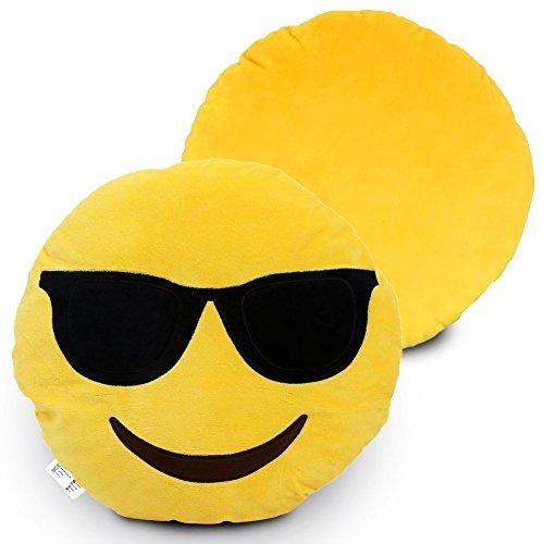 Emoji Kissen bunter lächelnder Kackhaufen Emoticon Rund Kissen Emoticon Gefüllt Plüsch Soft Geschenk Spielzeug Deko 100% Zufriedenheit oder Geld-zurück-Garantie. (Smiley-Gesicht mit Sonnenbrille)
