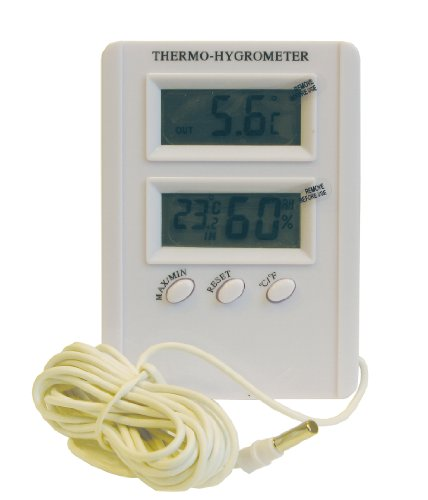 Namiba Terra 0707 Digital Thermo-Hygrometer Innen-Außen, Min-Max-Funktion inklusive Batterie, 110 x 70 x 20 mm, weiß