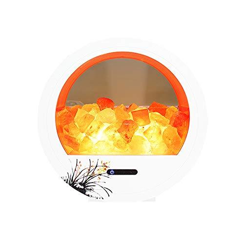 Romsion Lautsprecher Himalaya-Salzlampe mit Bluetooth-Lautsprecher und Dimmer Nachtlicht Kristalle Round Crafts Luftreiniger Salzlicht Orchid US Plug