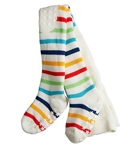 FALKE Babys Strumpfhosen Multi Stripe - 1 Paar, Gr. 62-68, weiss, Baumwolle verstärkt, rutschfest ABS Noppen, Jungen Mädchen (Aus Mädchen Spy Kids)
