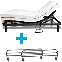 Duermete Cama Eléctrica Articulada Reforzada 5 Planos + Colchón Dorsal Viscoelástico + Juego Barandillas Abatibles,