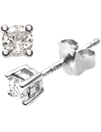 Naava Women's 0.25 ct IJ-I2 Diamond 9 ct White Gold Earrings