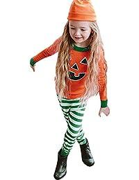 Preisvergleich für Riou Kinder Langarm Halloween Kostüm Top Set Baby Kleidung Set Kleinkind Kleinkind Baby Karikatur Oberseiten Druck...