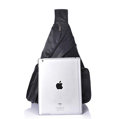 Outreo Borse Petto Vintage Borsa a Spalla Uomo Borse Tracolla Viaggio Zaino Outdoor Borsello Sport Chest Bag per Tablet Nero