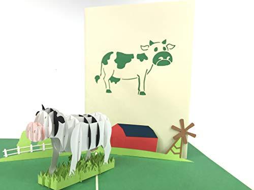Kuh auf dem Bauernhof 3D Pop up Grußkarte Anniversary Baby Happy Geburtstag Ostern Mutter Thank You Valentine 's Day Hochzeit Kirigami Papier Craft Postkarten - Grußkarten Kuh