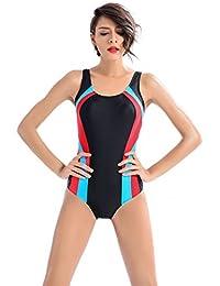 YARBAR Bañador de Mujer Deportes Colorblock Hollow Out traje de baño de una pieza