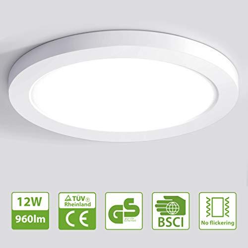 Oeegoo LED 12W lámpara de techo, Moderna LED luz de techo ronda delgada 1.3cm, 960lm LED Plafón para Dormitorio Cocina Sala de estar Comedor Balcón Pasillo Blanco Natural 4000K