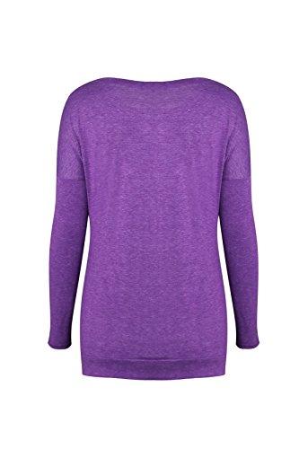 Blazar Casual Camicia Autunno Maglietta Invernale Felpa Oversize Sportiva Camicetta Maglia maniche lunghe T Shirt Viola