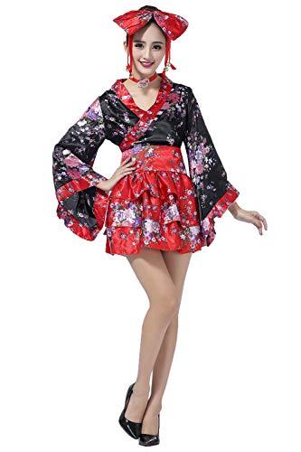 fagginakss Frauen Cosplay Lolita Kostüm japanische Kimono Anime Kostüme,6 Set- Flower Sakura Druck Kimono Robe Yukata japanischen Kleid, Nette Frauen Anime Cosplay Französisch Maid Schürze - Wench Kostüm Set