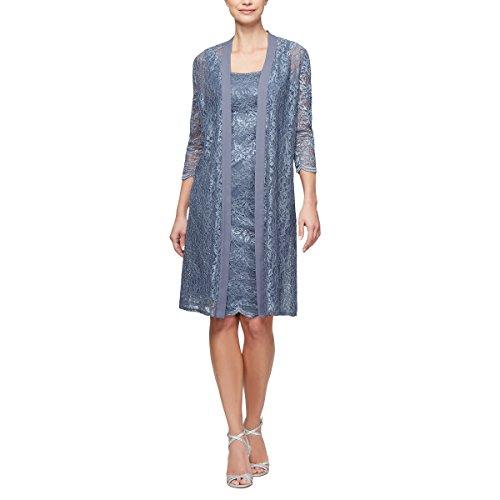 Alex Evenings Women's Plus Size Midi Scoop Neck Shift Dress with Chiffon Jacket Scoop Neck Shift Dress