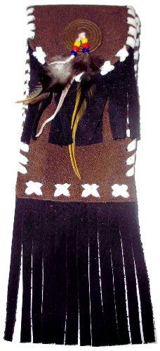 Gürteltasche für Handy oder Zigarettenpackung, rechteckig, Wildleder, Lederfransen u. Ziernähte, Federn u. Perlen, mit Klettverschluß -