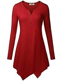 DJT T-shirt - Col Henley - Manches longues - Top Uni Femme