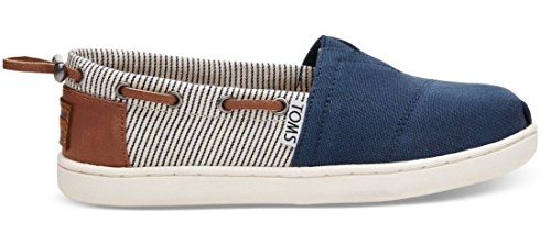 Toms Classic Navy Stripes Kids Espadrilles Shoes-1