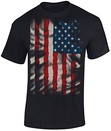 T-Shirt: Flow Design Stars and Stripes - USA Flagge - Shirt Herren Damen - Mann Männer Frau-en - Biker - Rock-er - Amerika America - United States - Camouflage - Army - Streetwear - Geschenk (XXL) (And Stars Stripes-flagge)