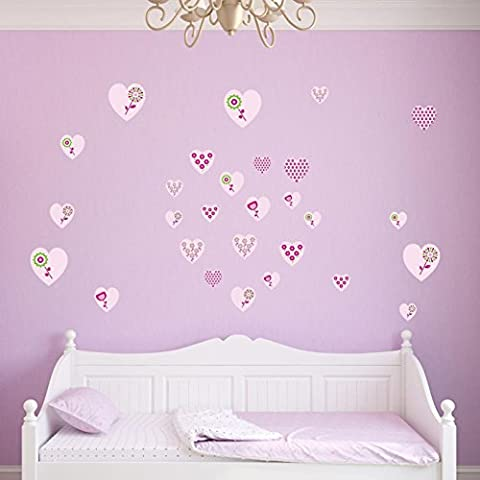 Supertogether Pink Hearts with Flowers Childrens Wall Stickers - Kids Patterned Bedroom Vinyl Decals (Pack of 28)