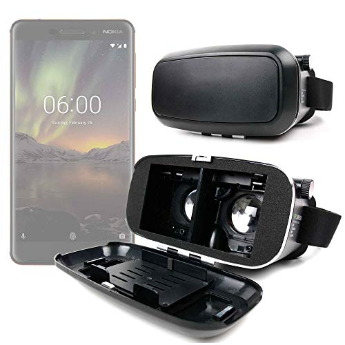 DURAGADGET Gafas de Realidad Virtual VR Ajustables en Color Negro para Smarphones Nokia 6.1 (2018), Samsung Galaxy J7 Neo + Gamuza limpiadora.