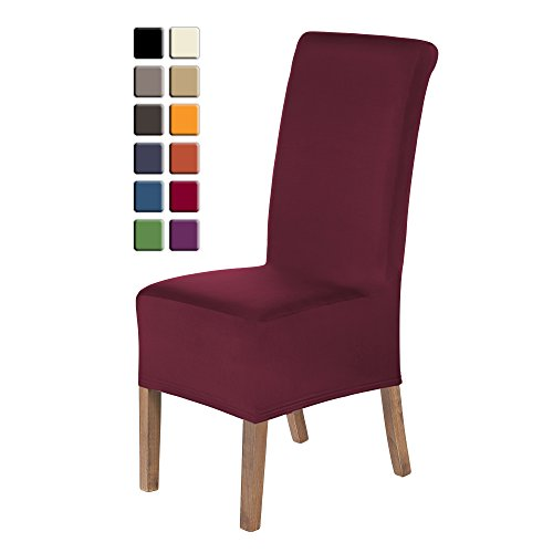 SCHEFFLER-HOME Lena Chair Covers for Dining Room 2 Pcs, Stretch Chaircover, Bi-elastic Slipcover, Decor Cover with Elastic Band, universal Fitting, Possible seat height coverage 20-24 cm - Bordeaux