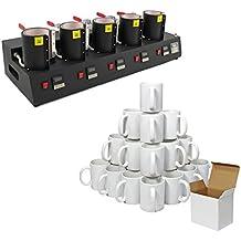 PixMax - Multi Prensa 5 en 1 para Tazas con Palancas para Ajuste Presión e 36 Tazas Blancas de Polímero con Cajas