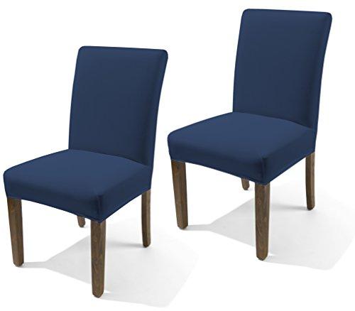Coprisedia coppia 2 pezzi fodera per sedie vestisedia in tessuto elasticizzato colore blu tinta unita made in italy