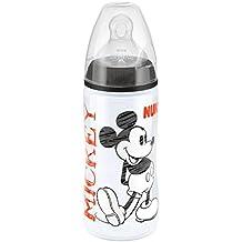 Nuk Mickey Mouse - Biberón cuello ancho de silicona T2 (M), 300 ml, surtido: modelos y colores aleatorios