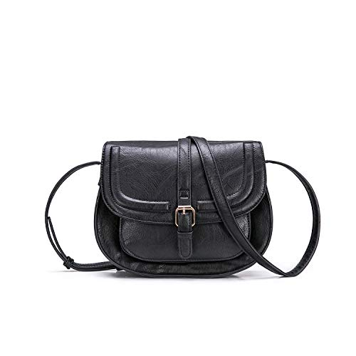 AFKOMST Damen Umhängetaschen und Schultertaschen Kleine Tasche Runde Retro Handtaschen mit Verstellbarer Schultergurt-Schwarz