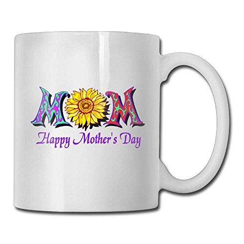Nisdsgd Happy Mothers Day with Colorful Flower Coffee Mugs 11 Oz Great Gift Ceramic Tea Cup for Family and Friend 3.14W x 3.74H(8x9.5cm) 16 Oz Tall Iced Tea